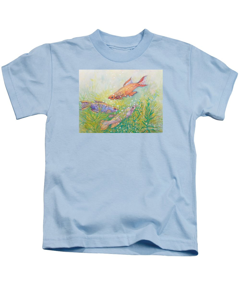 Top Artist Kids T-Shirt featuring the painting Hidden Treasures by Sharon Nelson-Bianco