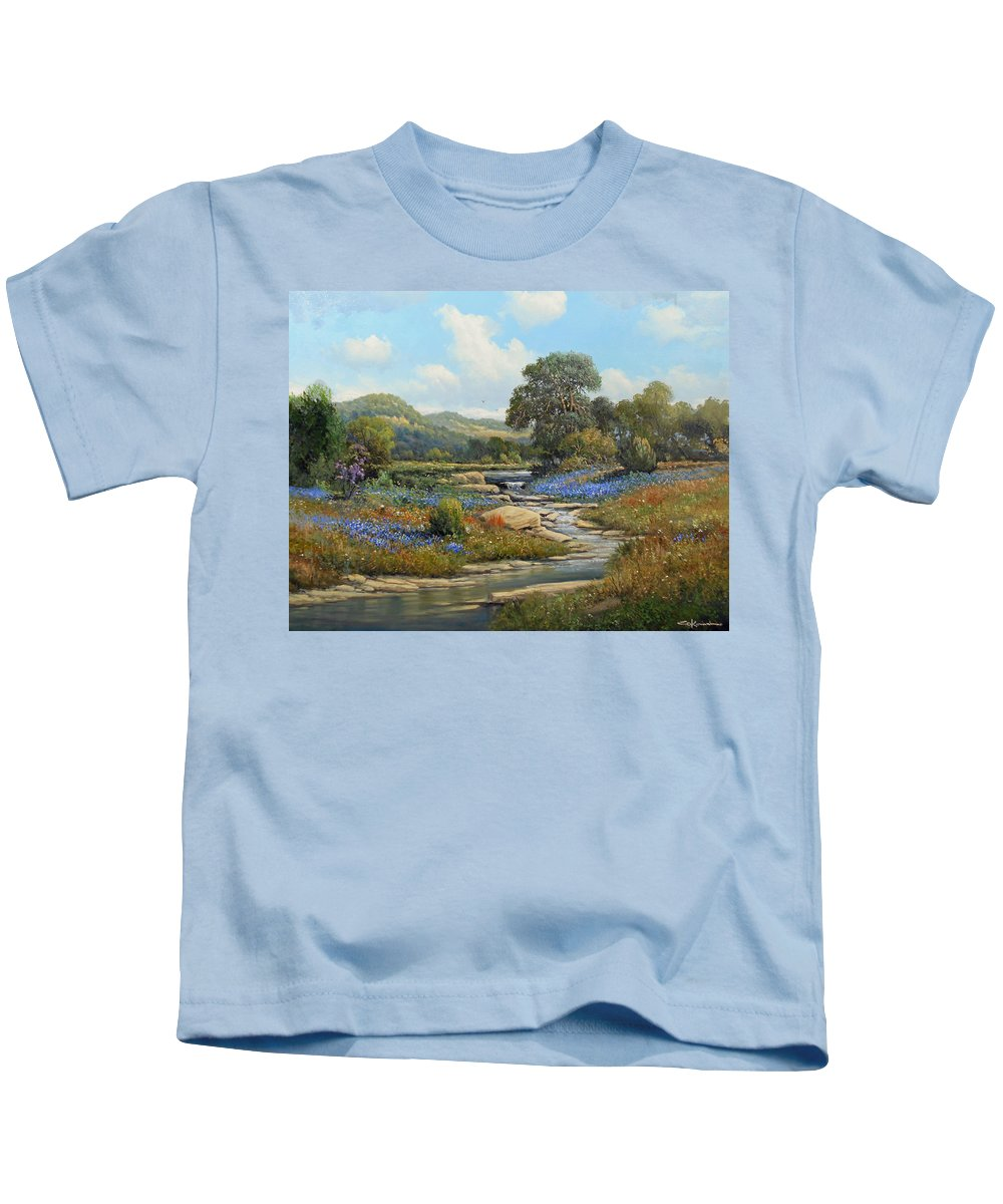 Texas Landscape Bluebonnets Kids T-Shirt featuring the painting Hill Country Draw by George Kovach