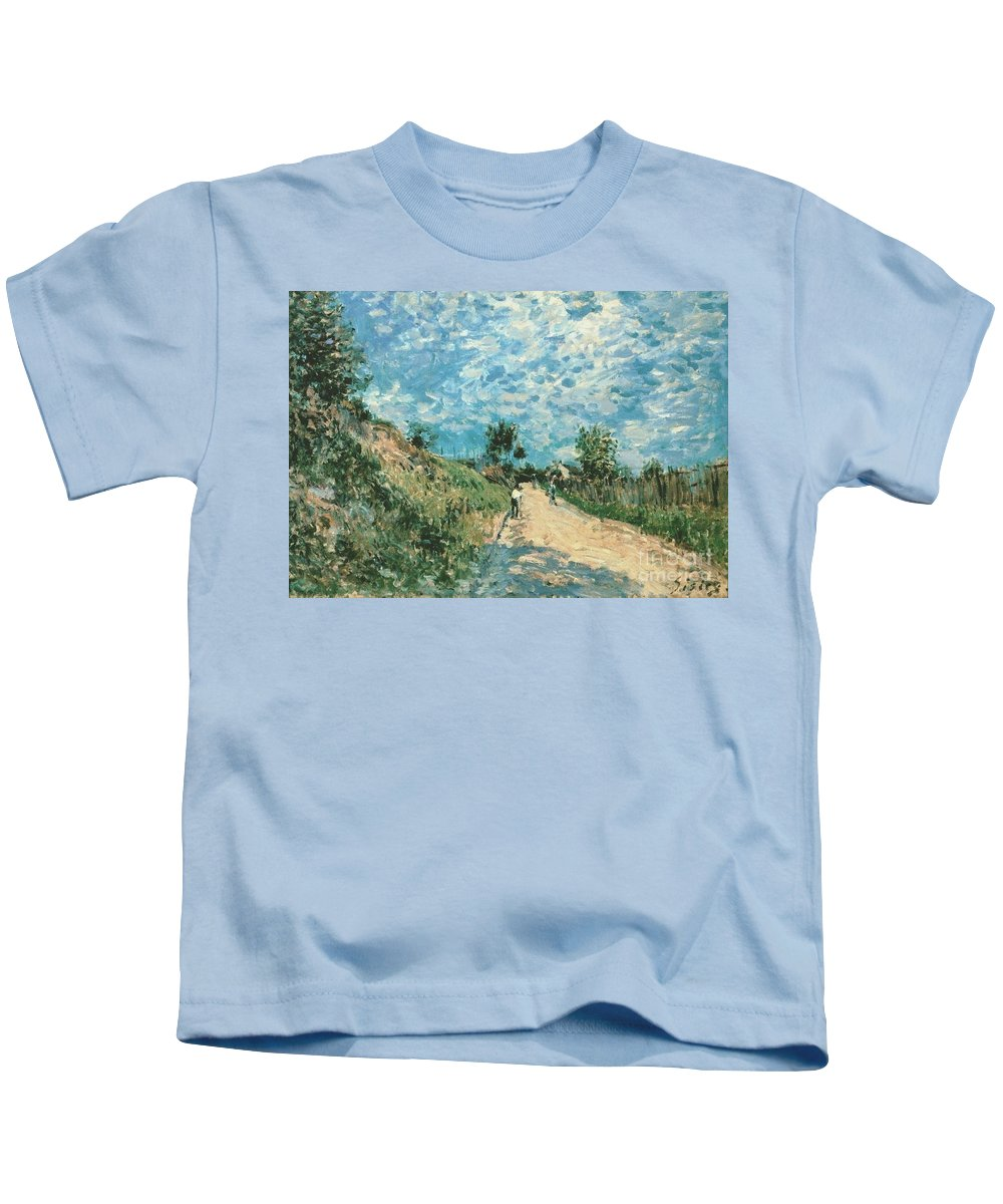 Hill Path Kids T-Shirt featuring the painting Hill Path by MotionAge Designs