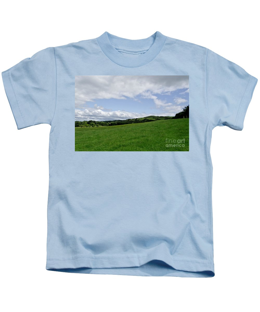 Beecraigs Kids T-Shirt featuring the photograph Hills Touching The Sky. by Elena Perelman