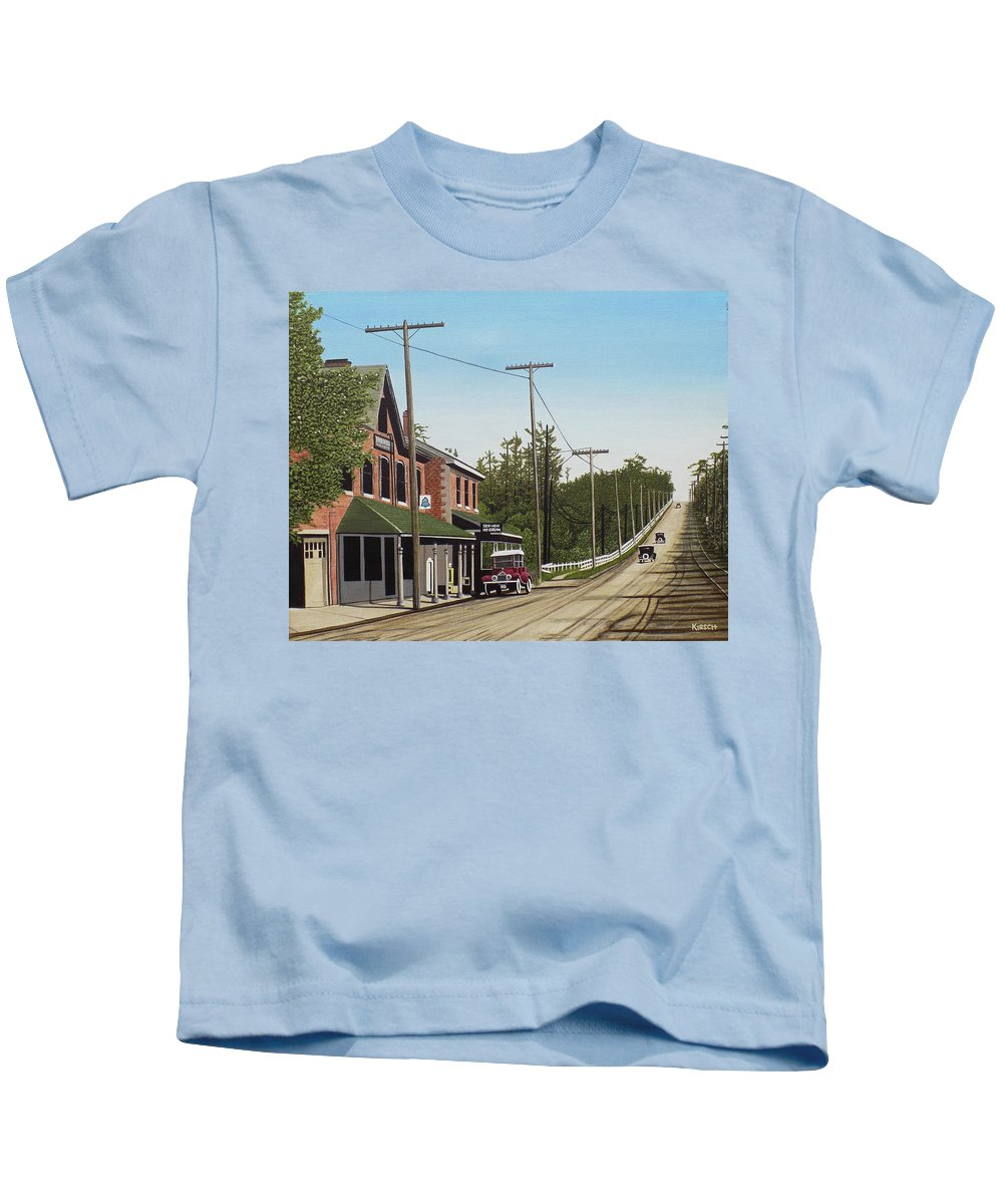 Streetscapes Kids T-Shirt featuring the painting Hoggs Hollow Toronto 1920 by Kenneth M Kirsch
