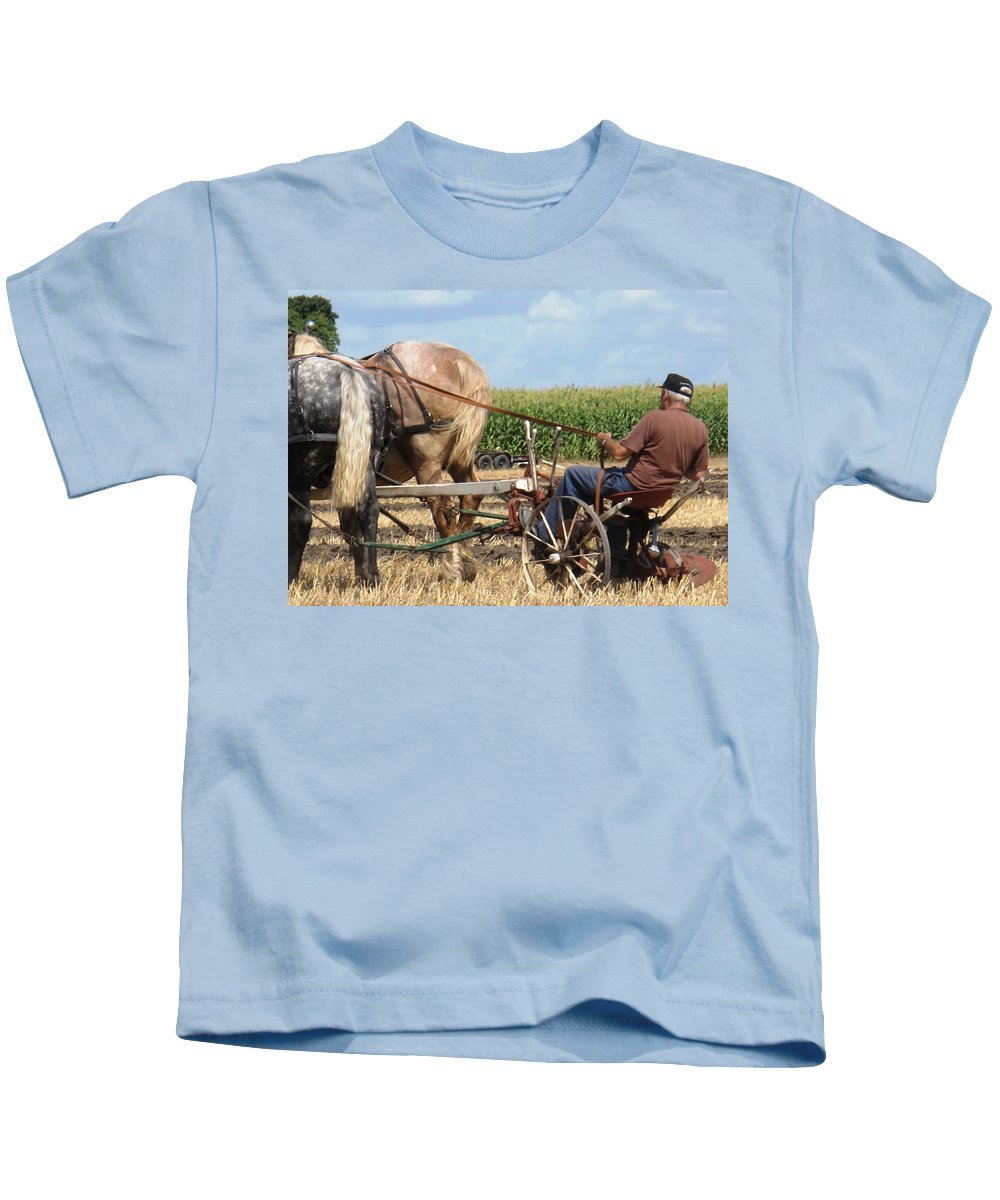 Horses Kids T-Shirt featuring the photograph Hold Your Horses by Ian MacDonald