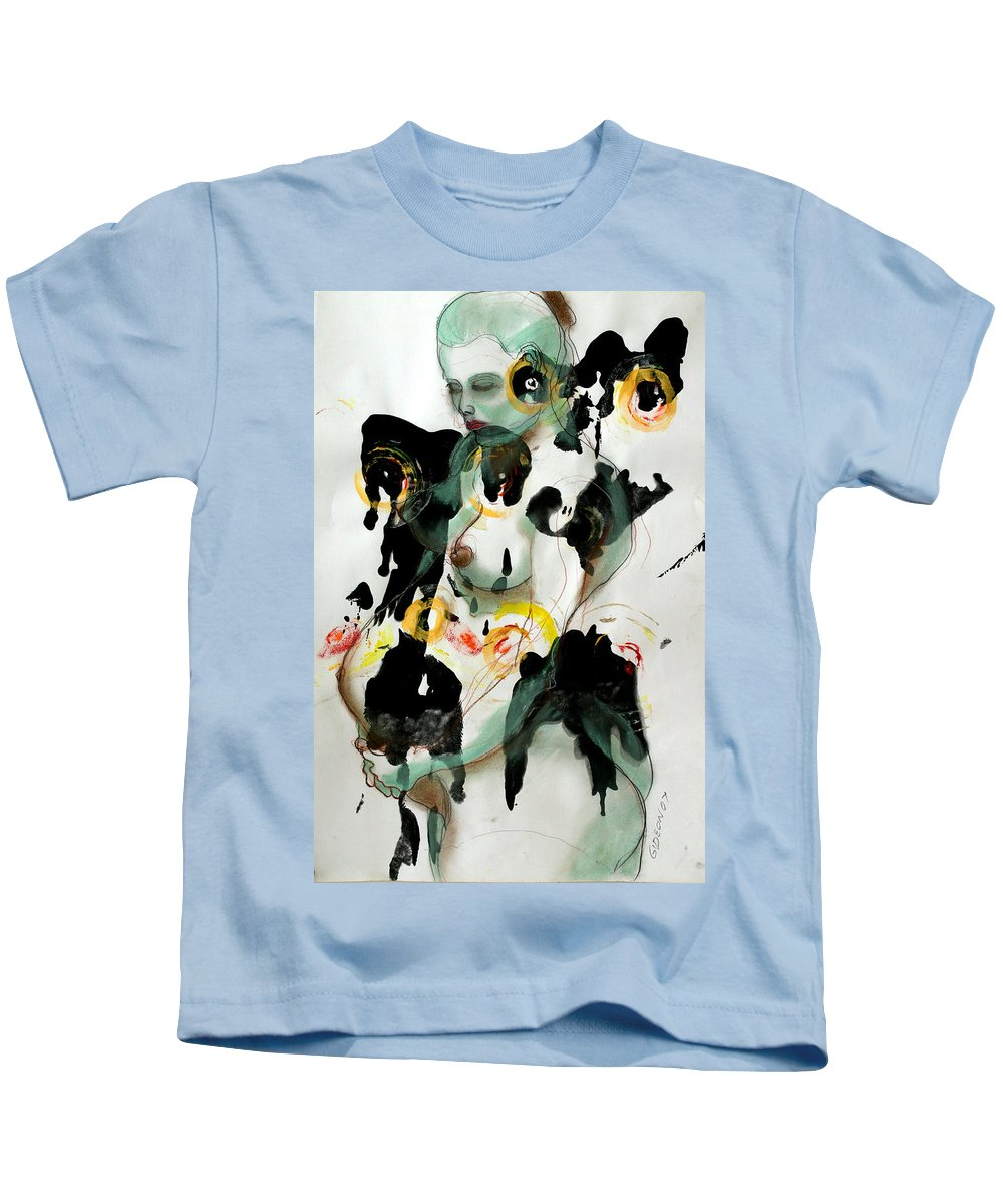 Drawing Kids T-Shirt featuring the painting Holistic Gestation 1 by Gideon Cohn