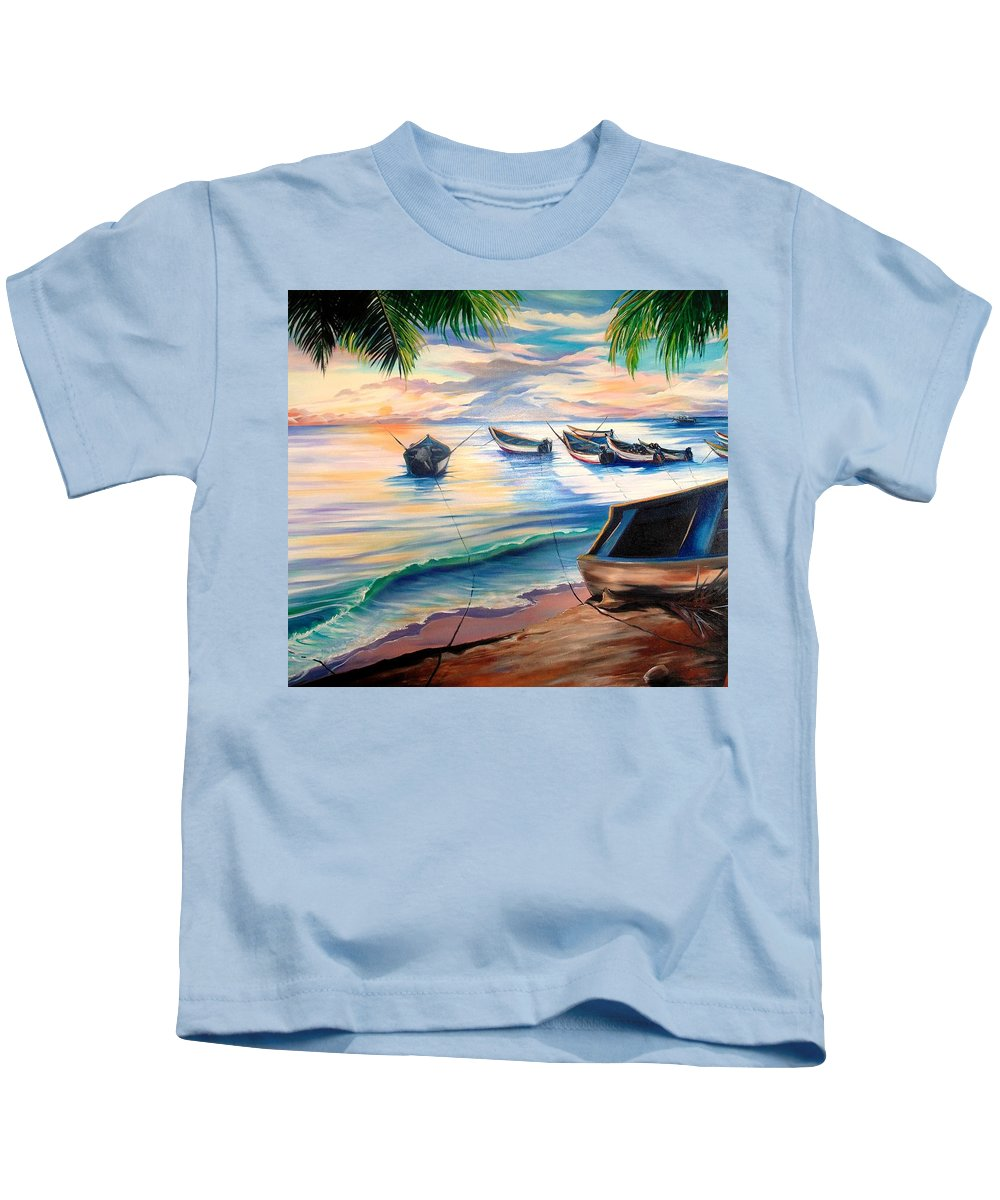 Ocean Painting Caribbean Painting Seascape Painting Beach Painting Fishing Boats Painting Sunset Painting Blue Palm Trees Fisherman Trinidad And Tobago Painting Tropical Painting Kids T-Shirt featuring the painting Home From The Sea by Karin Dawn Kelshall- Best