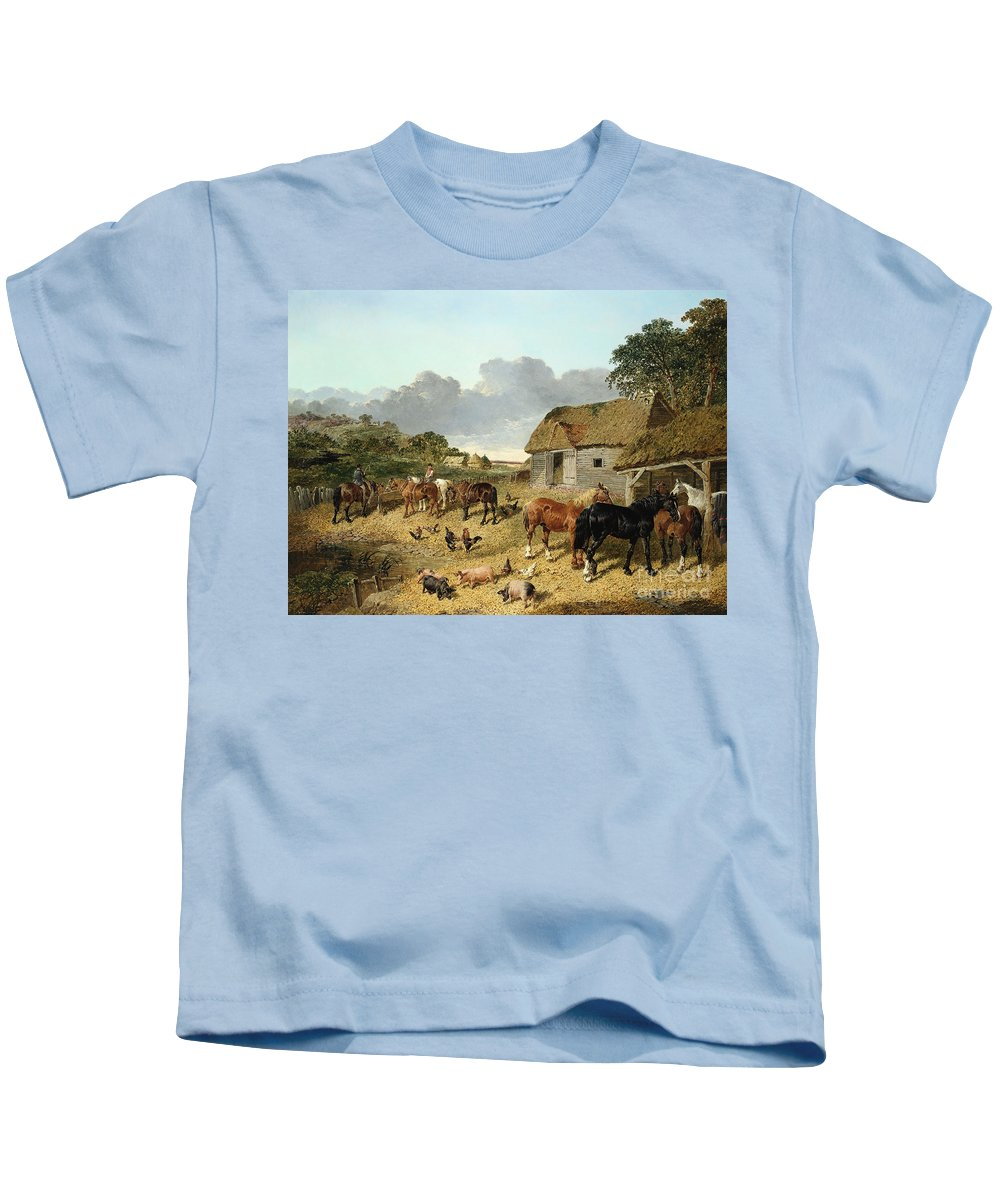 Horse Kids T-Shirt featuring the painting Horses Drinking From A Water Trough, With Pigs And Chickens In A Farmyard by John Frederick Herring Jr