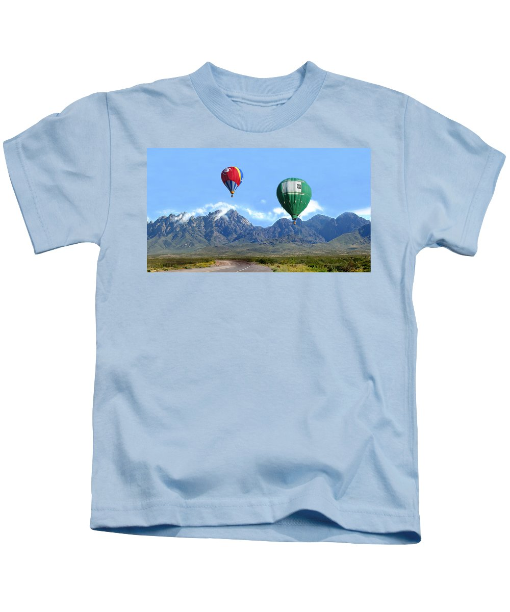 Organ Mountains-desert Peaks National Monument Kids T-Shirt featuring the photograph Hot Air Over The Organ Mountains by Jack Pumphrey