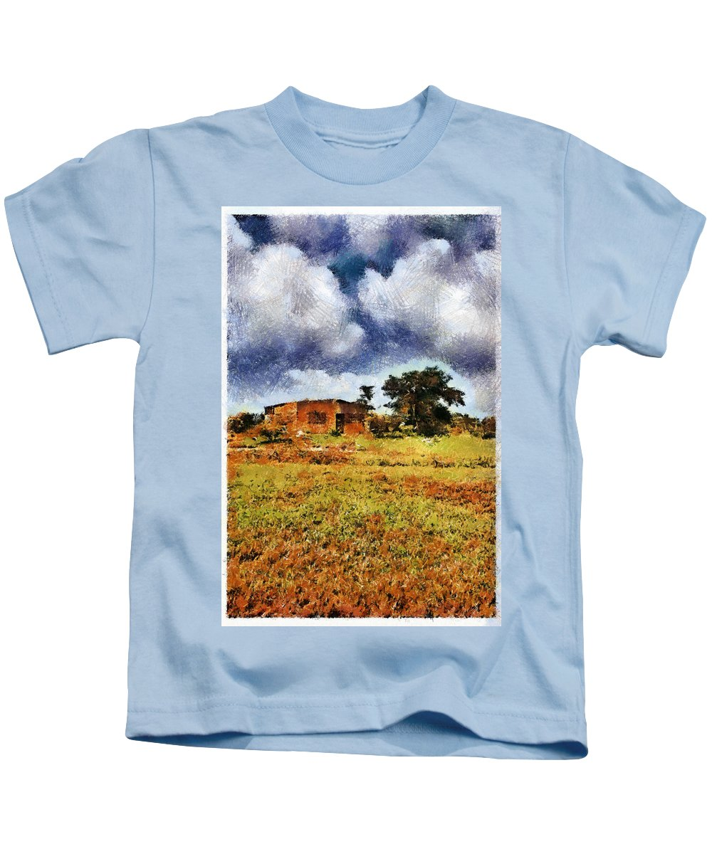House Tree Clouds Sky Blue Yellow Green Brown Digital Paint Kids T-Shirt featuring the photograph House In A Desert Land by Galeria Trompiz