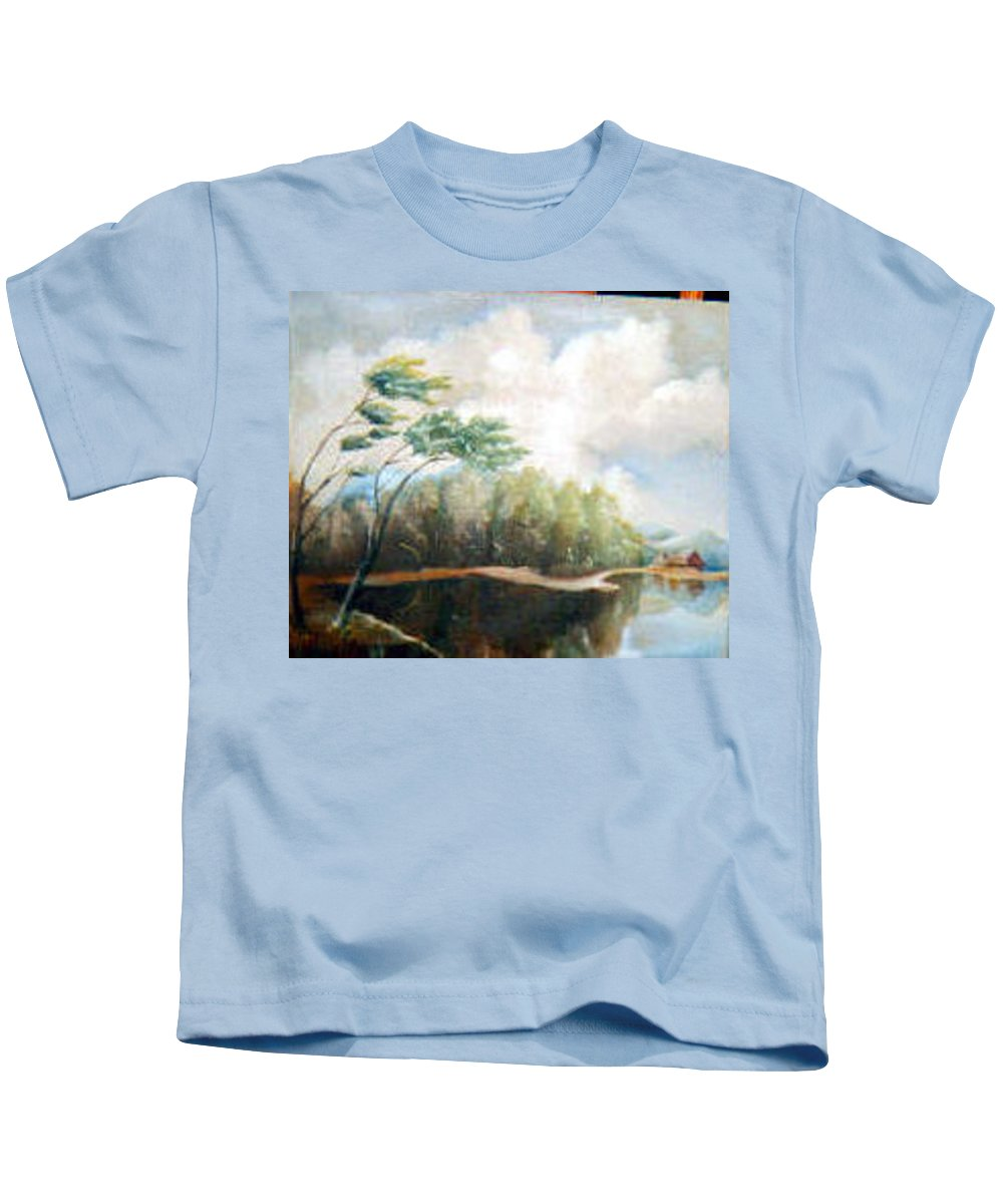 Landscape Kids T-Shirt featuring the painting House On The Lake by Sergey Bezhinets