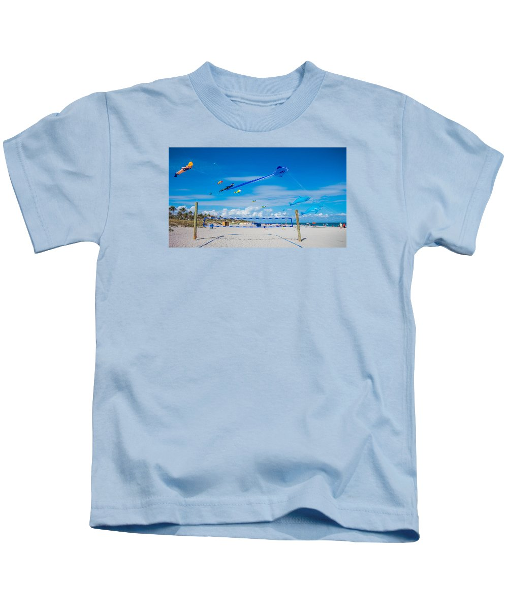 Florida Kids T-Shirt featuring the photograph Huge Kites Delray Beach by Lawrence S Richardson Jr
