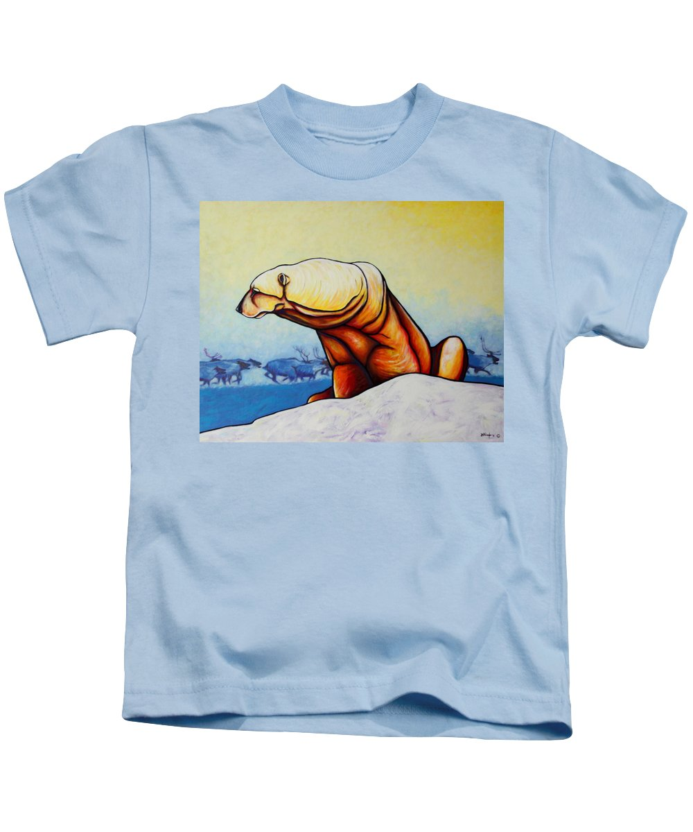 Wildlife Kids T-Shirt featuring the painting Hunger Burns - Polar Bear And Caribou by Joe Triano