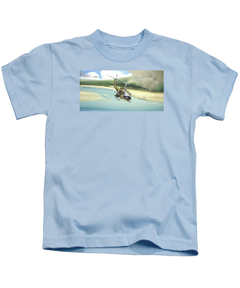 Military Kids T-Shirt featuring the painting Hunter Hueys by Marc Stewart