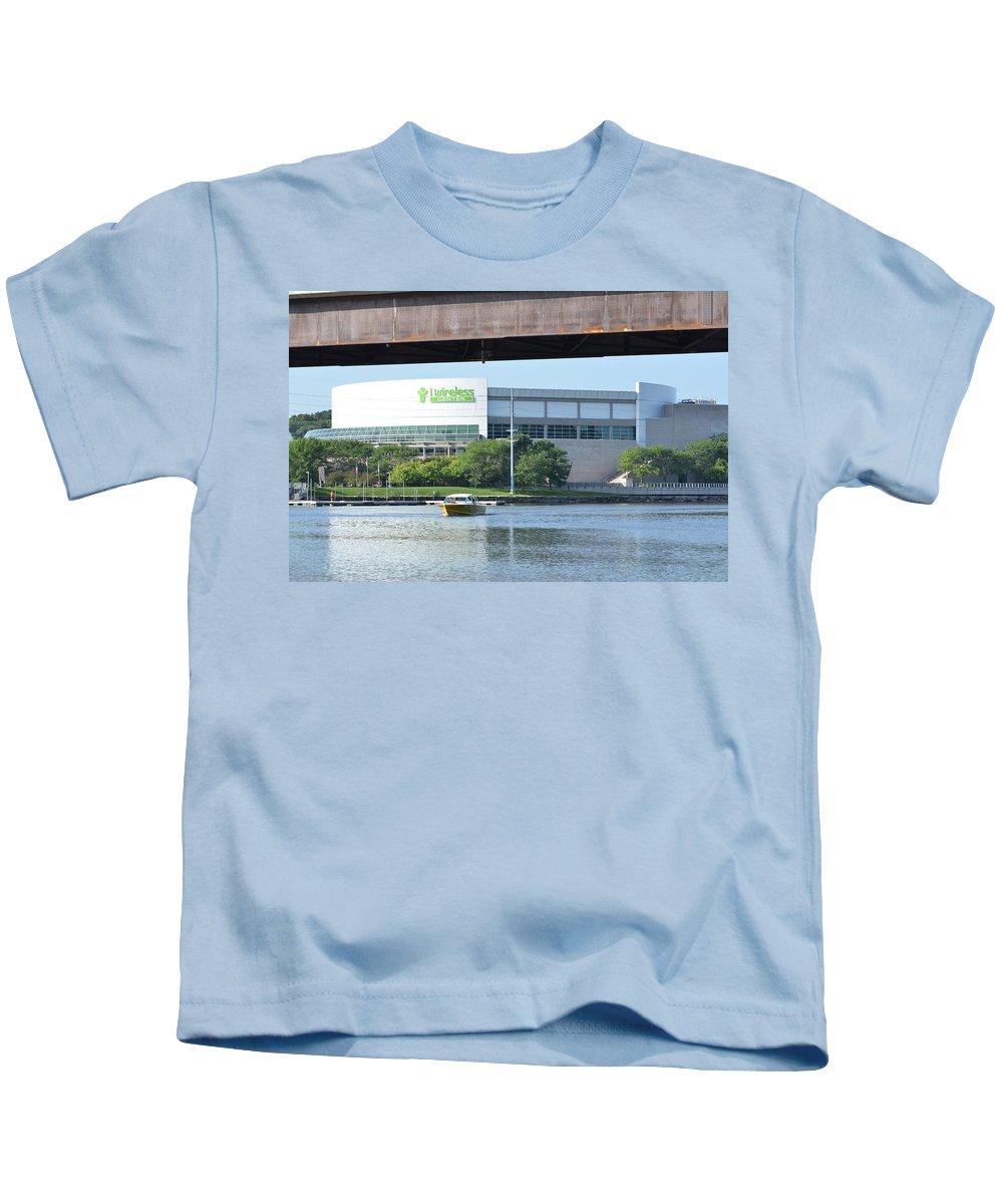Moline Kids T-Shirt featuring the photograph I Wireless Center by Tammy Mutka