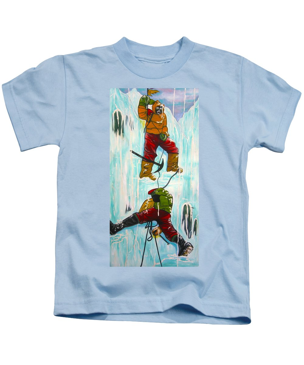 Abstract Sports Kids T-Shirt featuring the painting Ice Climbers by V Boge