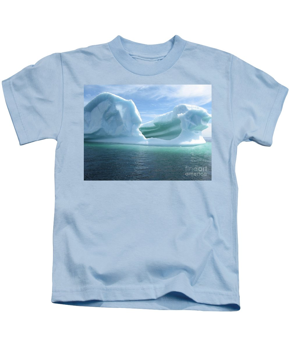Photograph Iceberg Ocean Summer Newfoundland Kids T-Shirt featuring the photograph Iceberg by Seon-Jeong Kim