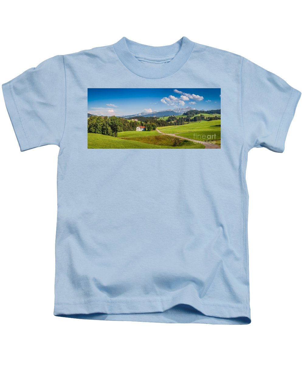 Alpine Kids T-Shirt featuring the photograph Idyllic Landscape In The Alps, Appenzellerland, Switzerland by JR Photography