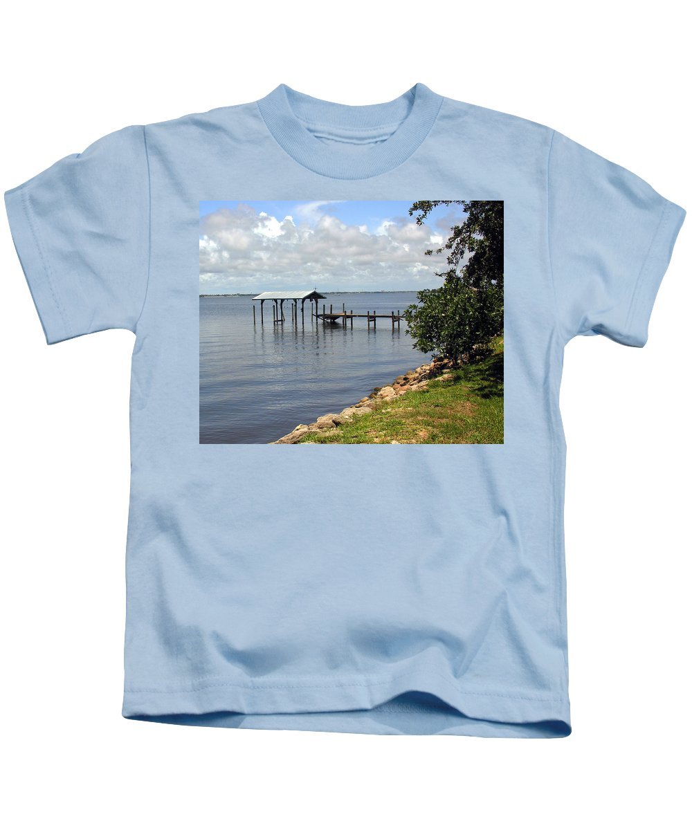 Pier; Wharf; Damaged; Hurricane; Indian; River; Florida; Indialantic; Brevard; Melbourne; Old; Inter Kids T-Shirt featuring the photograph Indian River In Indialantic Florida by Allan Hughes
