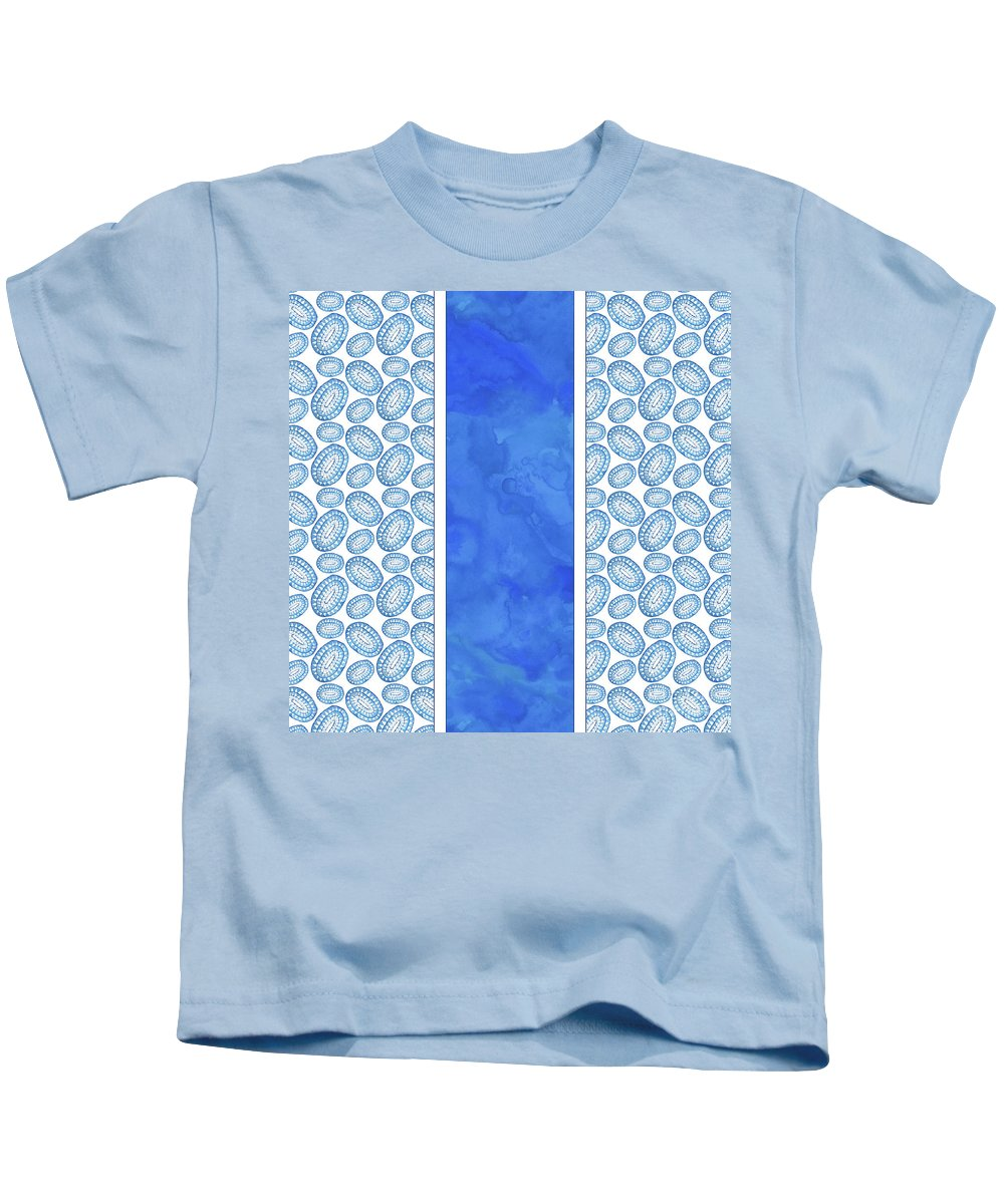 Indigo Kids T-Shirt featuring the painting Indigo Amoeba Abstract Tribal Watercolor by Tina Lavoie