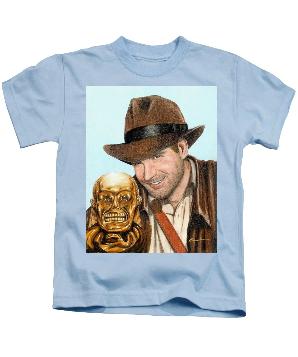 Raiders Of The Lost Ark Indiana Jones Bruce Lennon Art Harrison Ford Kids T-Shirt featuring the painting Indy by Bruce Lennon