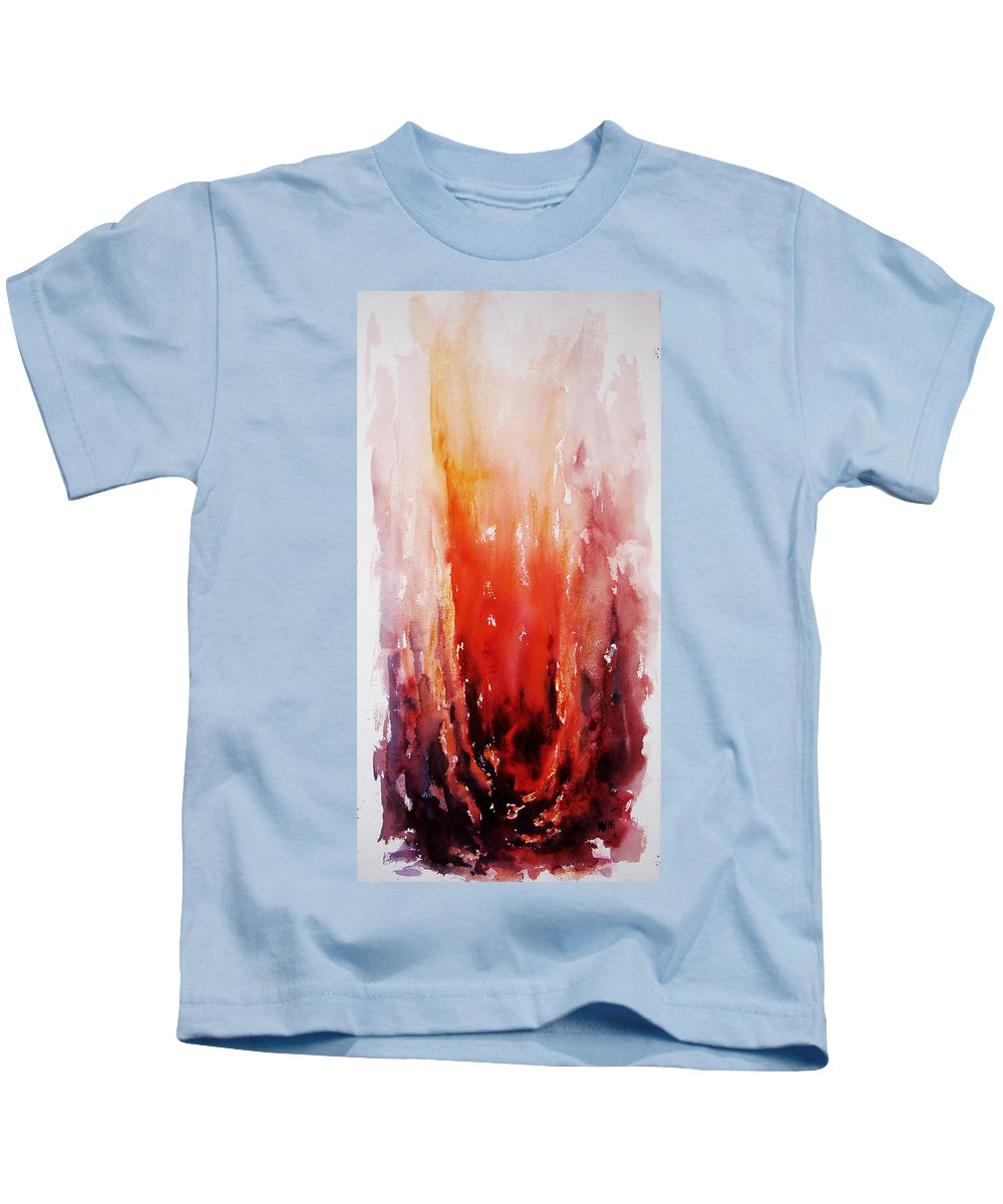 Landscape Kids T-Shirt featuring the painting Inferno by Rachel Christine Nowicki