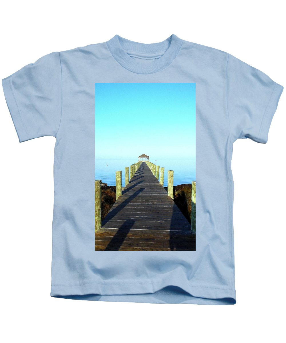 Obx Outer Banks Wooden Pier Pamlico Sound Water Calm Sky Gazebo Walkway Reflection Shadow Kids T-Shirt featuring the photograph Into The Blue 5 3116 by Mark Lemmon