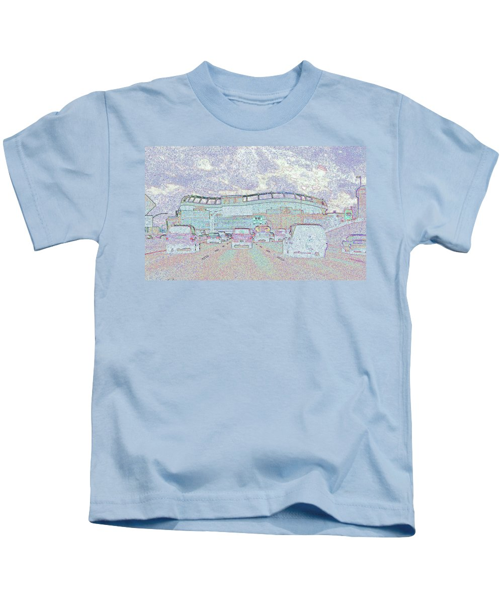 Abstract Kids T-Shirt featuring the photograph Invesco Field by Lenore Senior