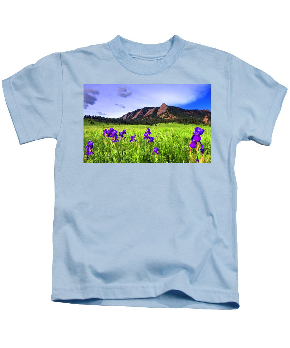 Flatirons Kids T-Shirt featuring the photograph Iris And Flatirons by Scott Mahon