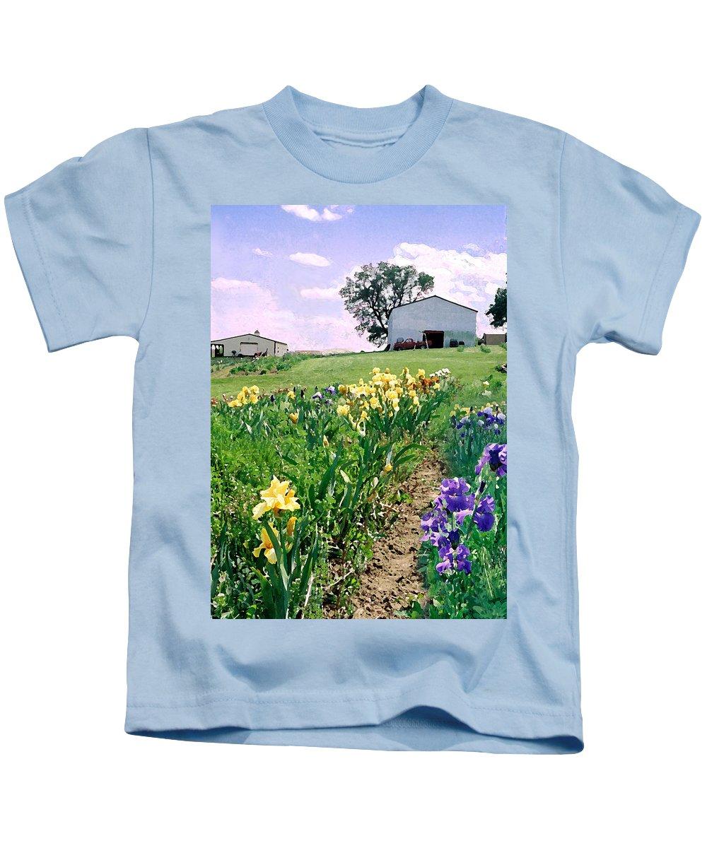 Landscape Painting Kids T-Shirt featuring the photograph Iris Farm by Steve Karol