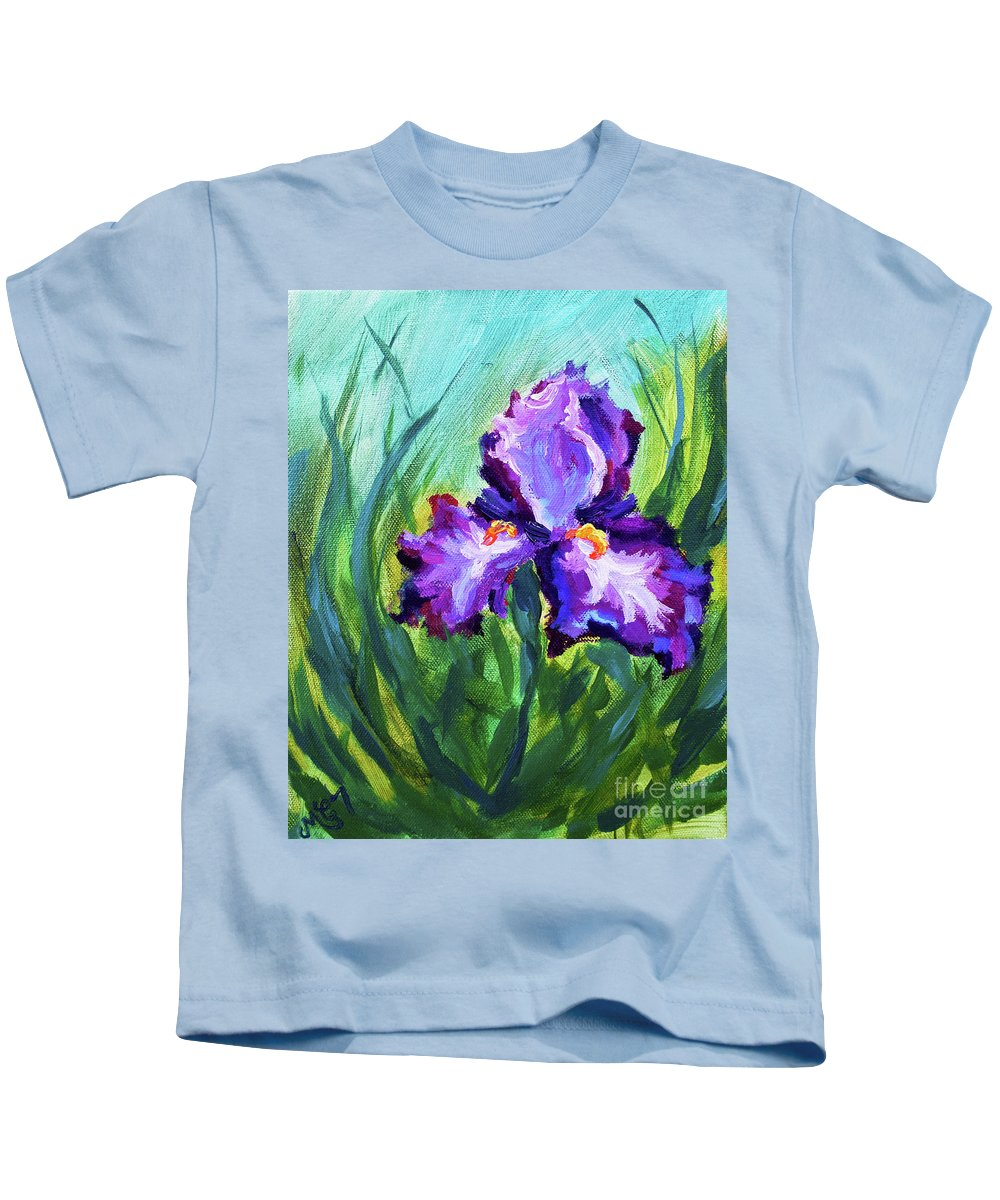 Kids T-Shirt featuring the painting Iris Solo by Melissa G Thompson