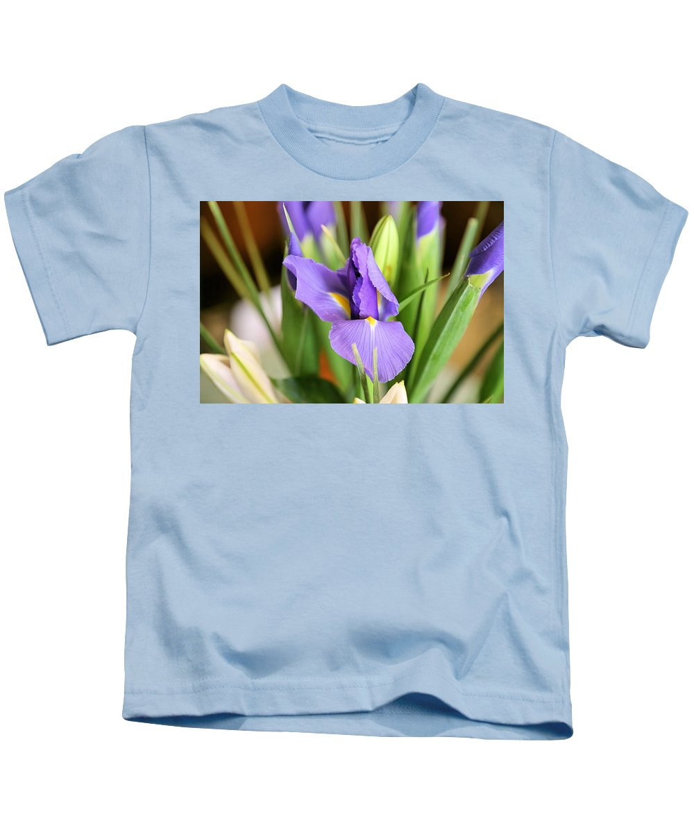 Iris Kids T-Shirt featuring the photograph Iris Unfolding II by Theresa Campbell