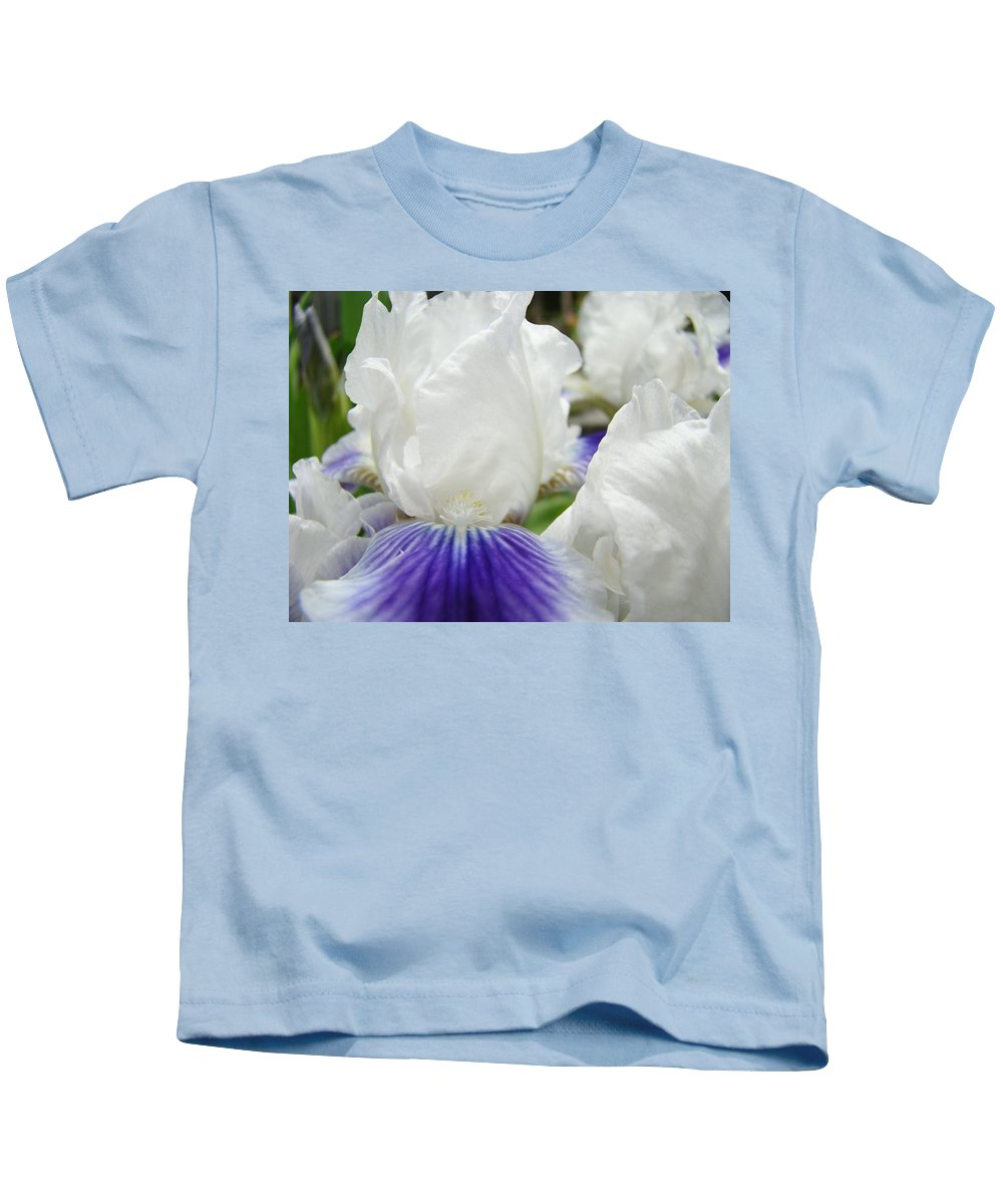 Iris Kids T-Shirt featuring the photograph Irises Flowers Art Print Gifts White Purple Iris Flower by Baslee Troutman