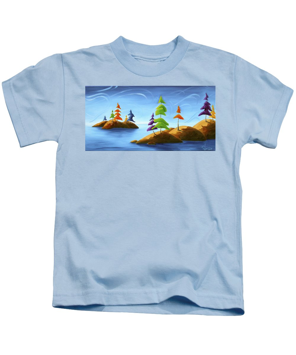 Landscape Kids T-Shirt featuring the painting Island Carnival by Richard Hoedl