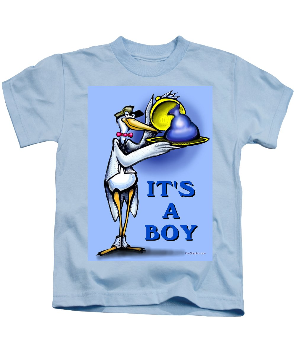 Baby Kids T-Shirt featuring the greeting card It's A Boy by Kevin Middleton
