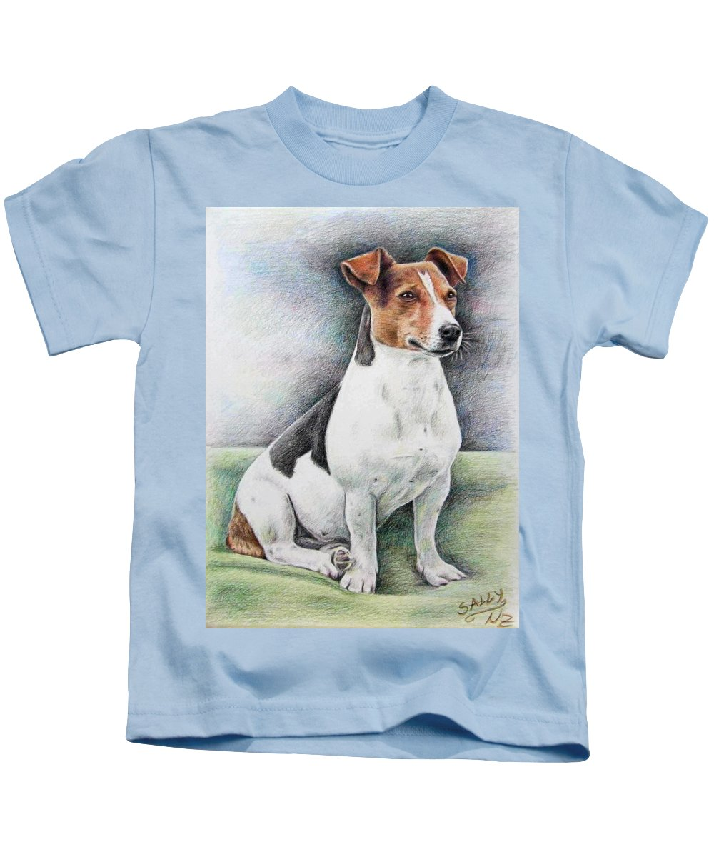 Dog Kids T-Shirt featuring the drawing Jack Russell Terrier by Nicole Zeug