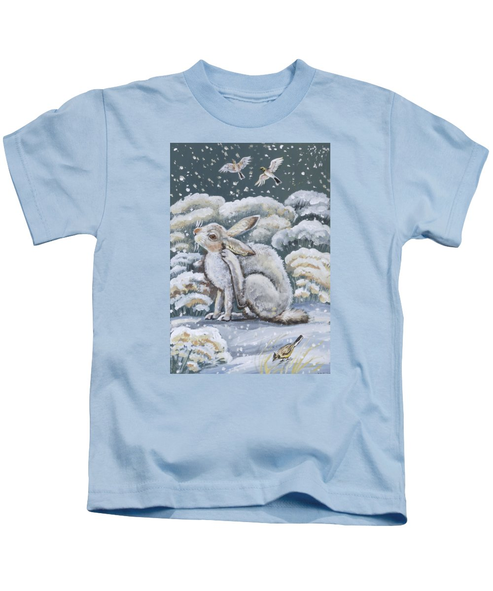 Animal Kids T-Shirt featuring the painting Jackrabbit And Horned Larks by Dawn Senior-Trask