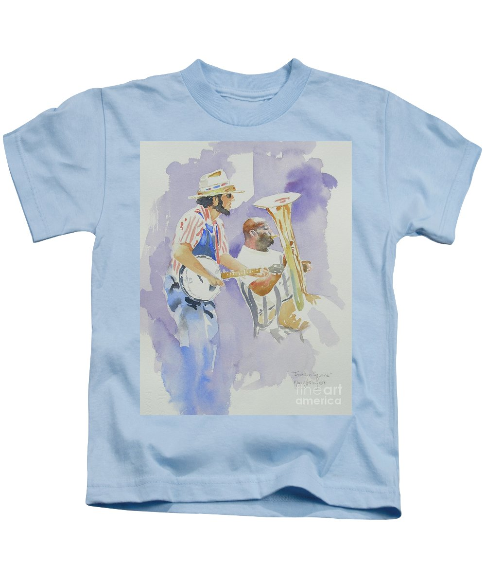 New Orleans Kids T-Shirt featuring the painting Jackson Square by Mary Haley-Rocks