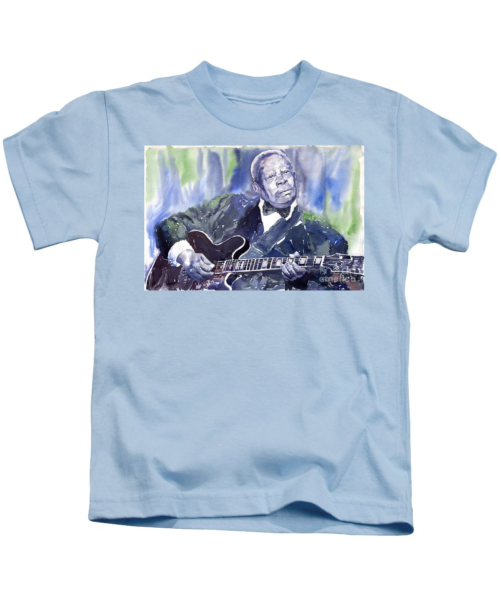 Jazz Bbking Music Watercolor Watercolour Guitarist Portret Kids T-Shirt featuring the painting Jazz B B King 01 by Yuriy Shevchuk