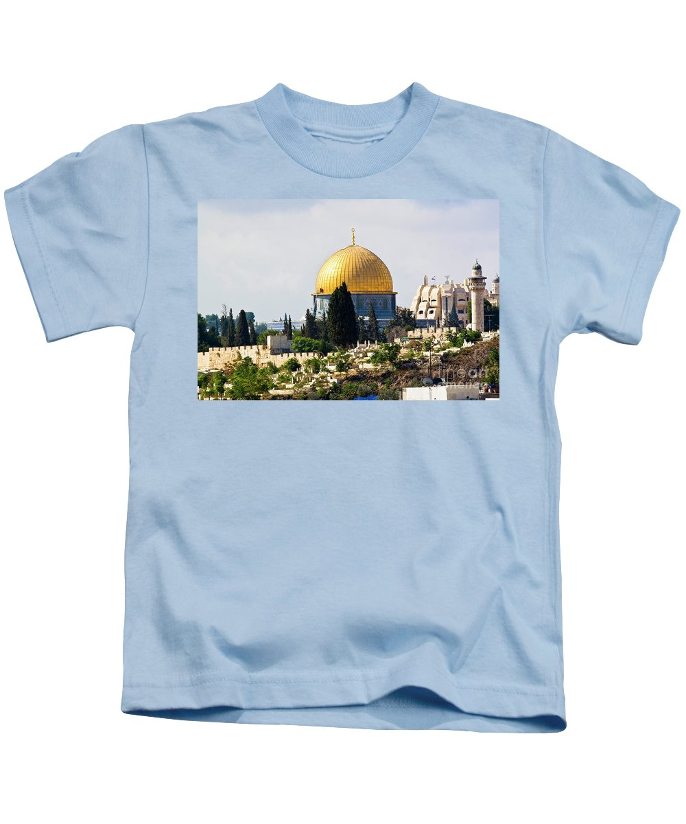 Israel Kids T-Shirt featuring the photograph Jerusalem Dome Of The Rock by Ohad Shahar