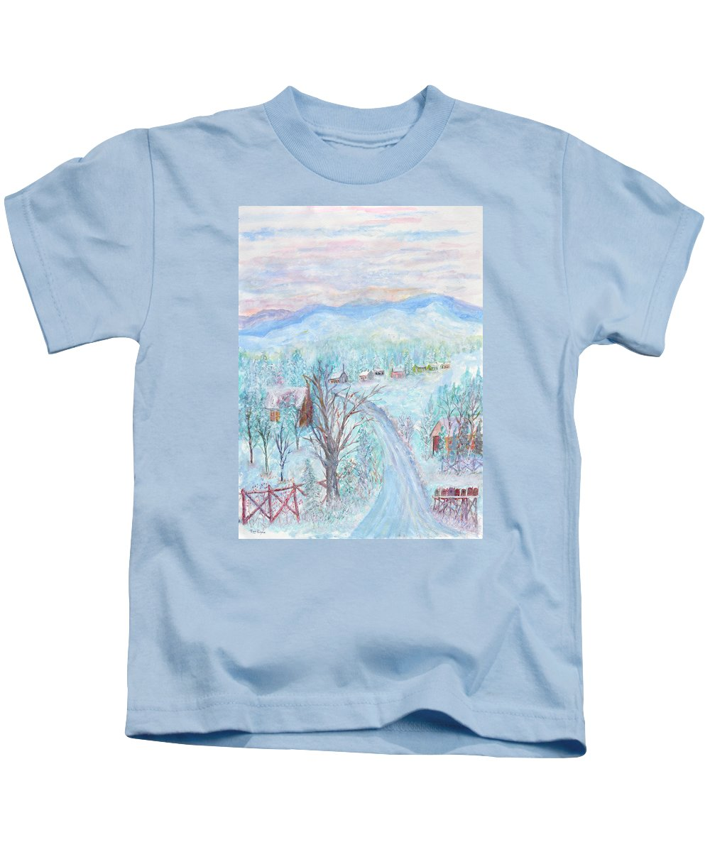 Winter Kids T-Shirt featuring the painting Joy of Winter by Ben Kiger