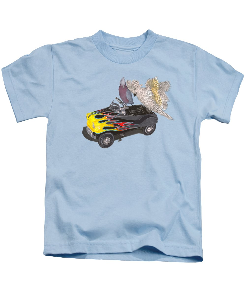 Tee Shirt Watercolor Art Of Julies Pet Parrots Playing In A Restored Vintage Peddle Car Kids T-Shirt featuring the painting Julies Kids by Jack Pumphrey