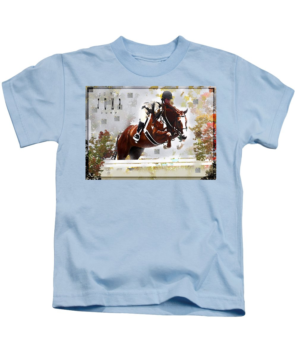 Jenny Gandert Kids T-Shirt featuring the digital art Jump by Jenny Gandert