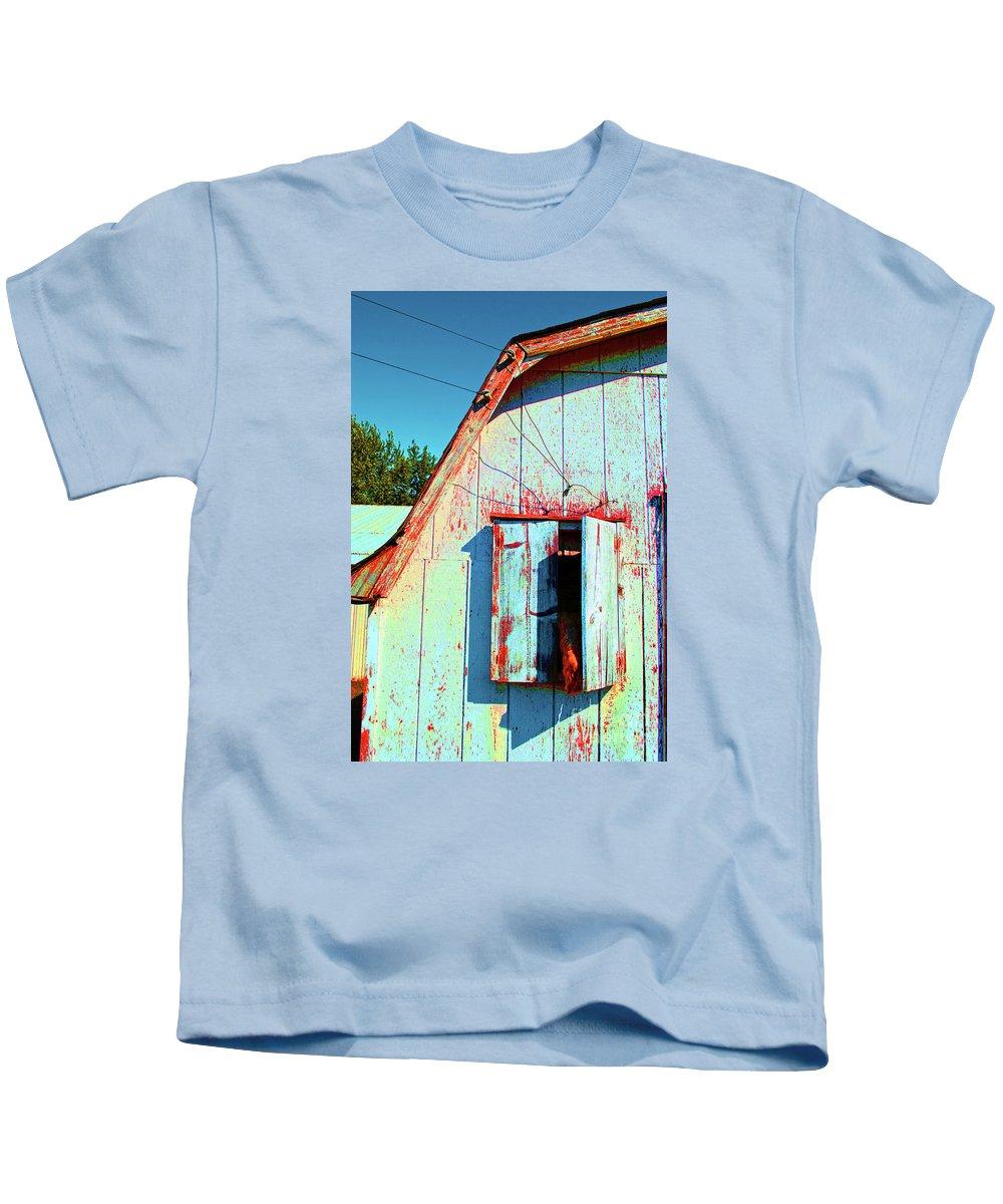 Barn Kids T-Shirt featuring the photograph Junior's Barn Window by Jost Houk