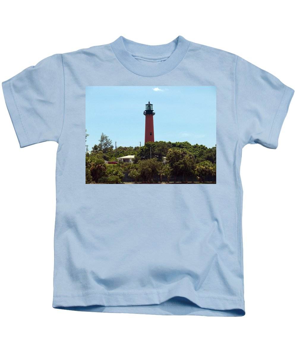 Florida; Juptier; Inlet; Loxahatchee; River; Atlantic; Coast; Shore; Beach; Light; Lighthouse; Beaco Kids T-Shirt featuring the photograph Jupiter Inlet Light by Allan Hughes