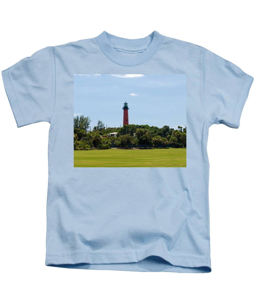 Florida; Juptier; Inlet; Loxahatchee; River; Atlantic; Coast; Shore; Beach; Light; Lighthouse; Beaco Kids T-Shirt featuring the photograph Jupiter Inlet Lighthouse by Allan Hughes