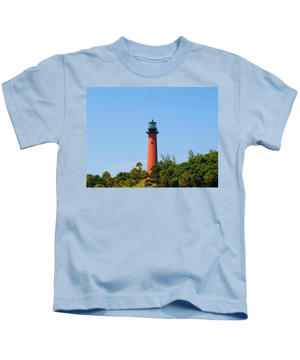 Florida; Juptier; Inlet; Loxahatchee; River; Atlantic; Coast; Shore; Beach; Light; Lighthouse; Beaco Kids T-Shirt featuring the photograph Jupiter Light In Florida by Allan Hughes