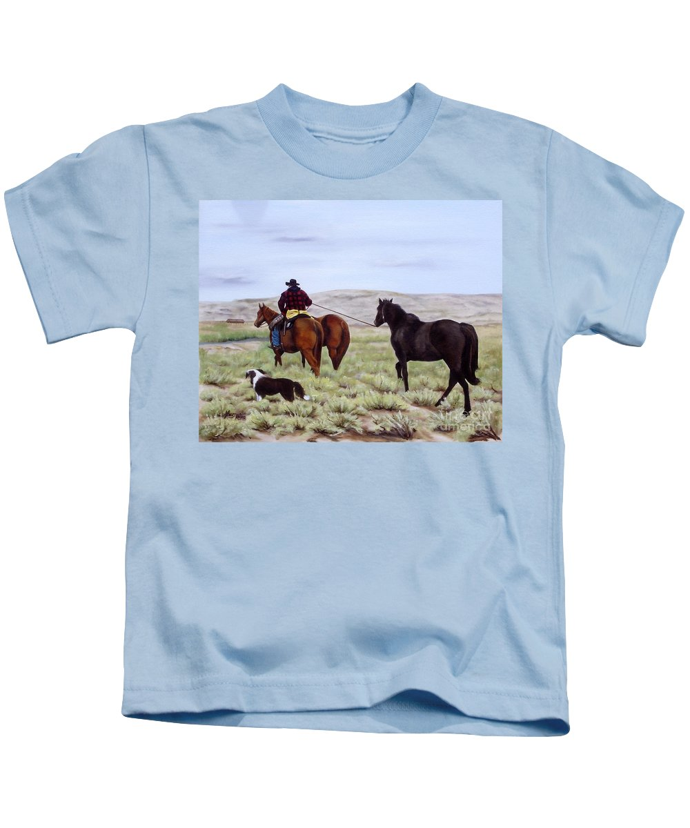 Art Kids T-Shirt featuring the painting Just Might Rain by Mary Rogers