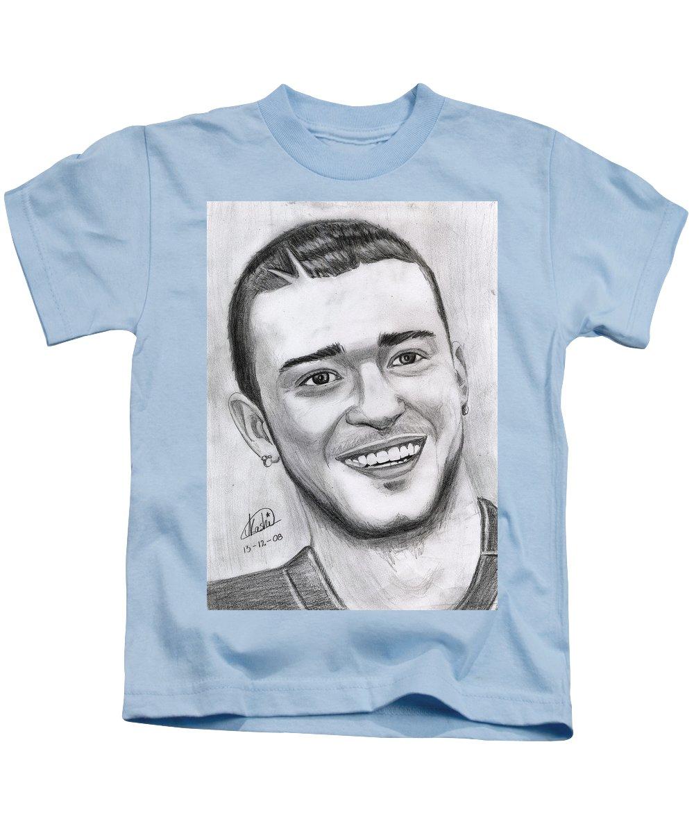 Justing Timberlake Kids T-Shirt featuring the drawing Justing Timberlake Portrait by Alban Dizdari