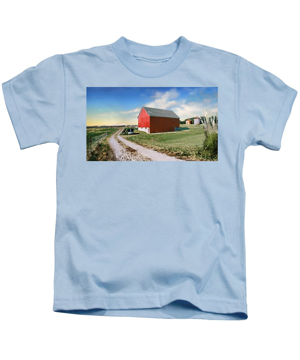 Barn Kids T-Shirt featuring the photograph Kansas landscape II by Steve Karol
