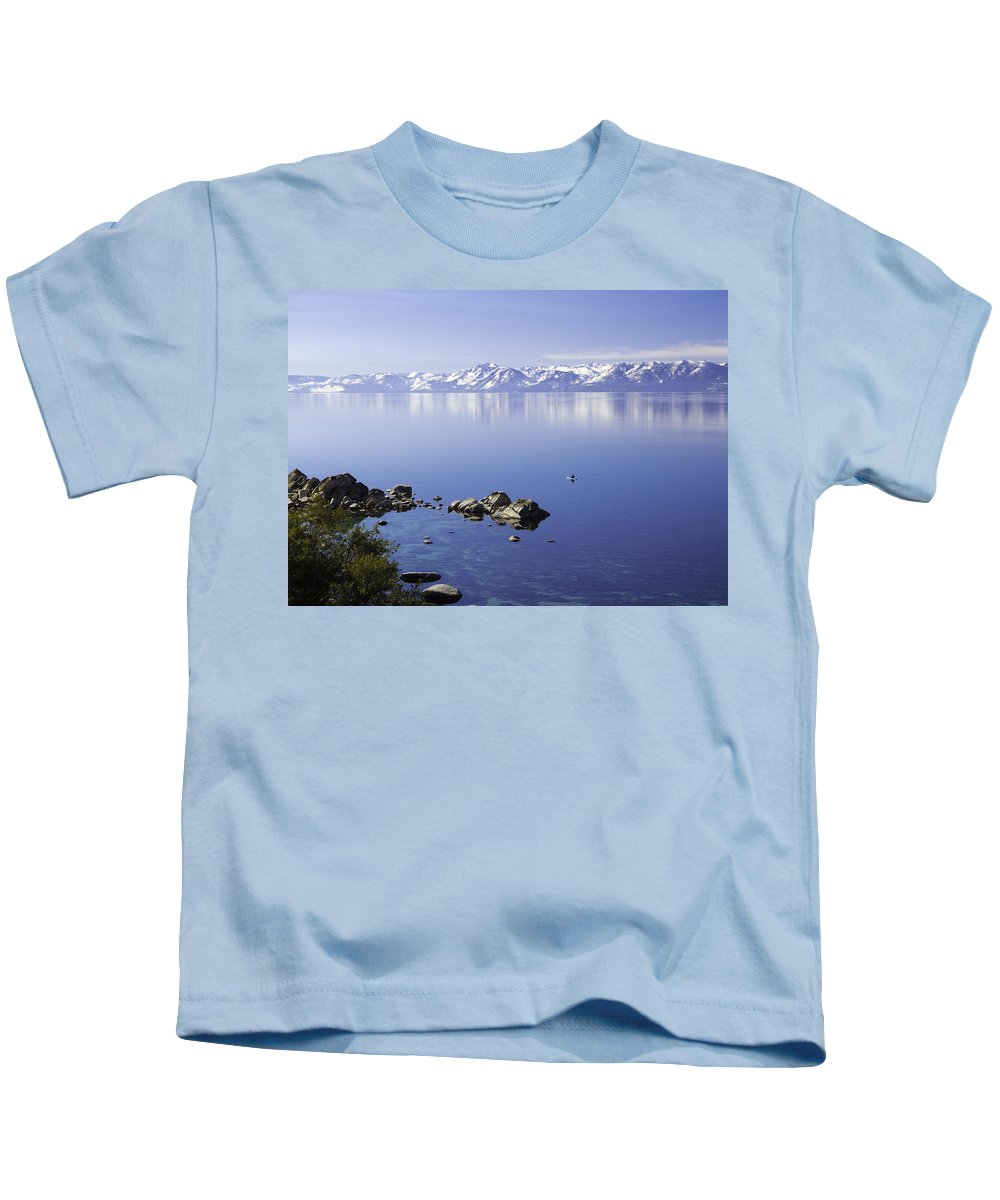 Snowy Kids T-Shirt featuring the photograph Kayak On Lake Tahoe by Martin Gollery