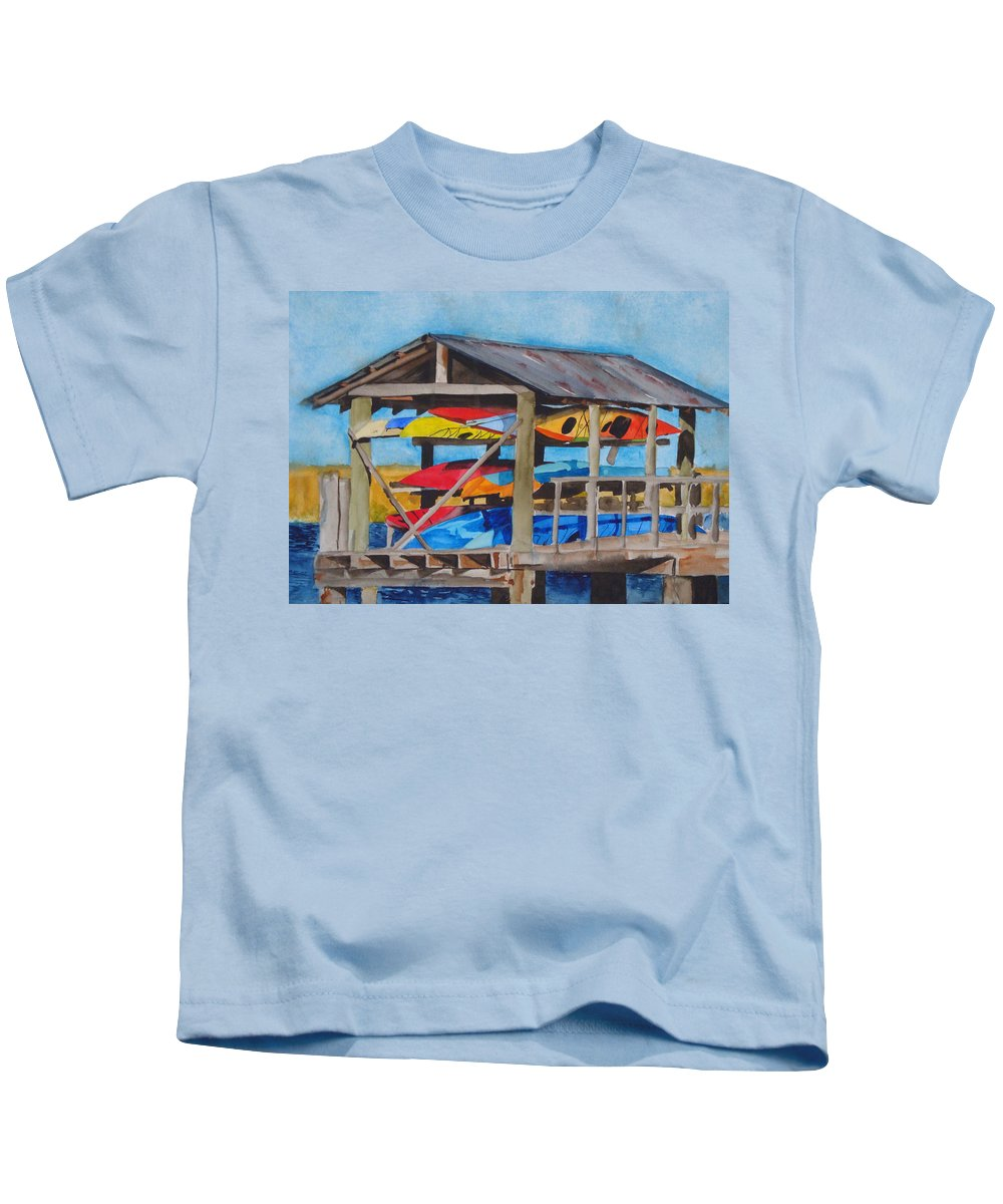 Kayak Kids T-Shirt featuring the painting Kayak Rainbow by Jean Blackmer