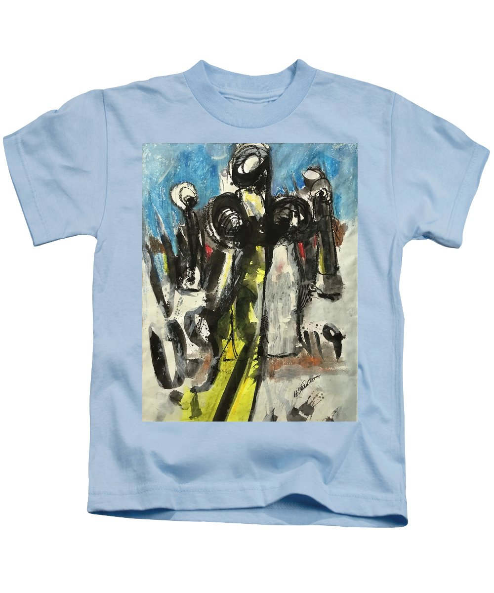 East African Kids T-Shirt featuring the painting Khanam Worshiper by Mohamed-saeed Omer